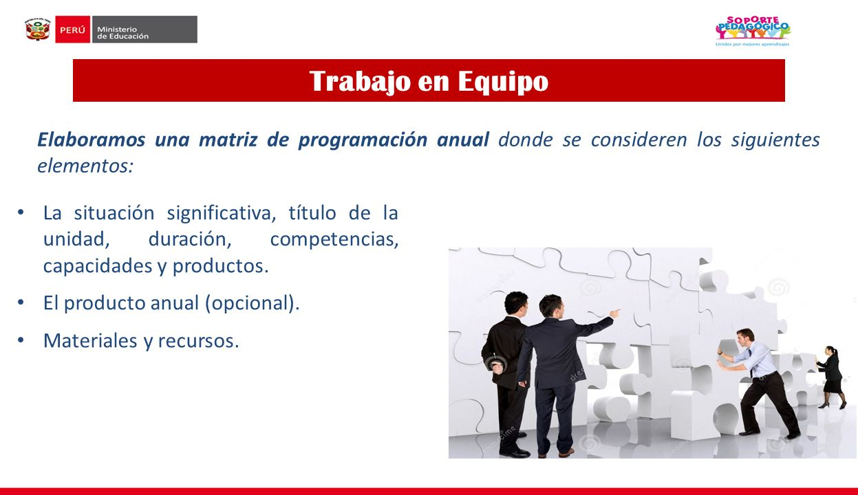 Trabajo en Equipo Elaboramos una matriz de programación anual donde se consideren los siguientes elementos: