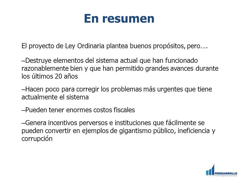 En resumenEl proyecto de Ley Ordinaria plantea buenos propósitos, pero….