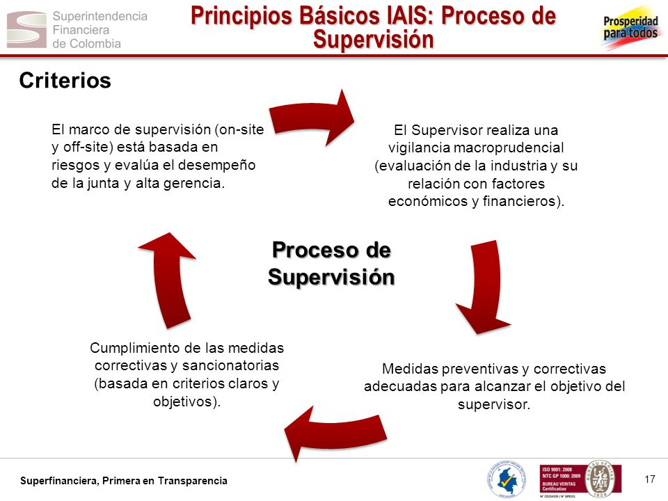 Principios Básicos IAIS: Proceso de Supervisión Proceso de Supervisión