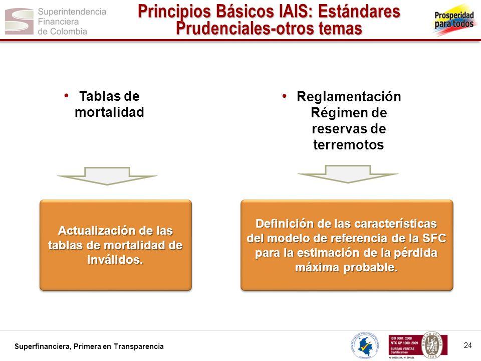 Principios Básicos IAIS: Estándares Prudenciales-otros temas