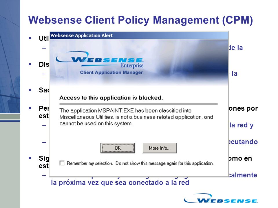 Websense Client Policy Management (CPM)