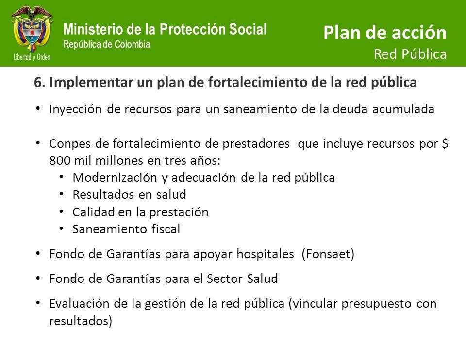 6. Implementar un plan de fortalecimiento de la red pública