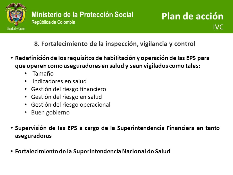 8. Fortalecimiento de la inspección, vigilancia y control