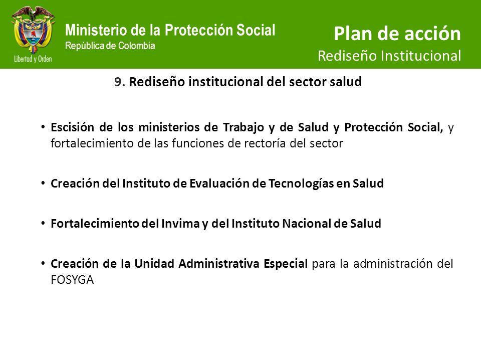 9. Rediseño institucional del sector salud
