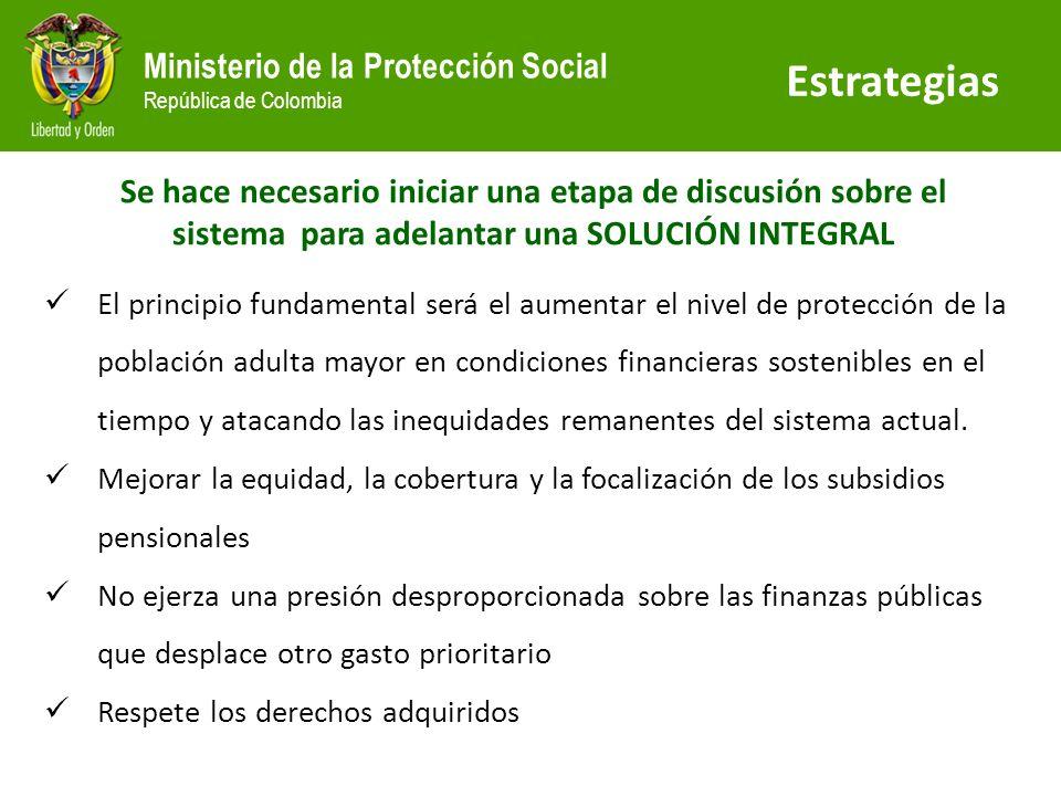 EstrategiasSe hace necesario iniciar una etapa de discusión sobre el sistema para adelantar una SOLUCIÓN INTEGRAL.