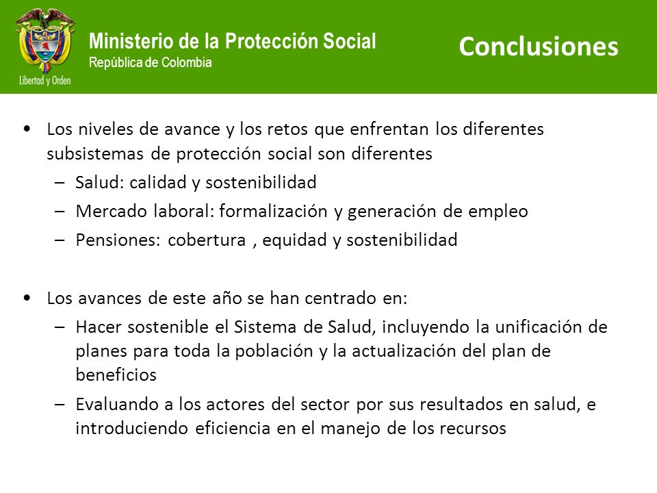 ConclusionesLos niveles de avance y los retos que enfrentan los diferentes subsistemas de protección social son diferentes.