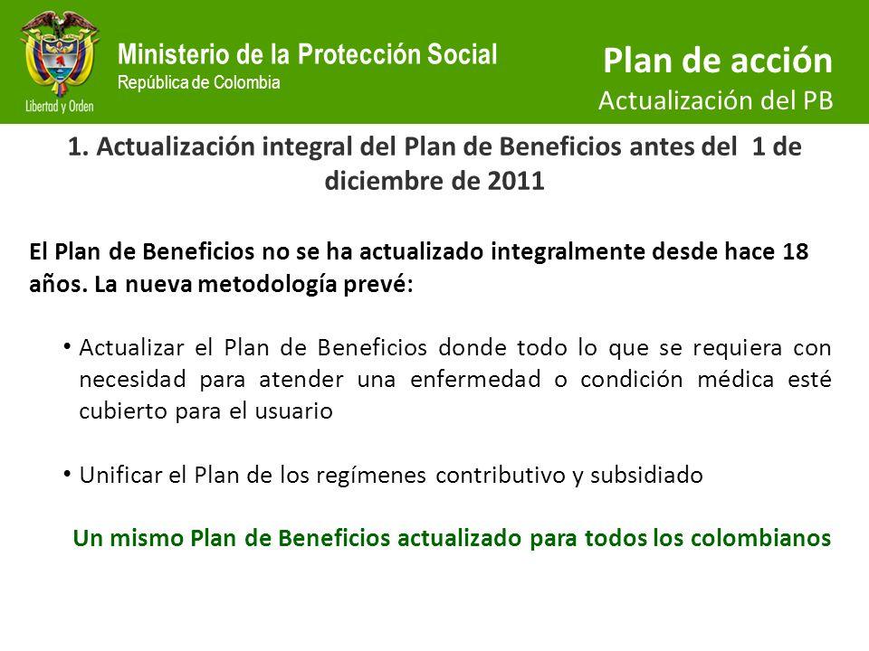 Un mismo Plan de Beneficios actualizado para todos los colombianos