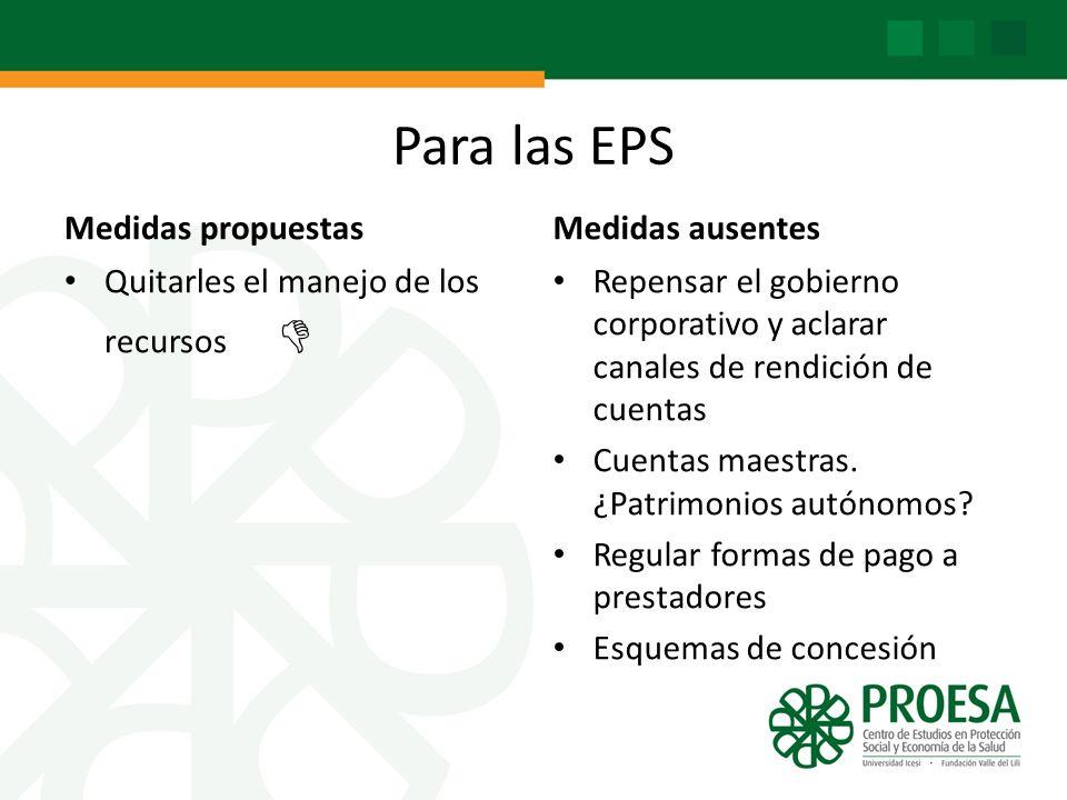Para las EPS Medidas propuestas Medidas ausentes