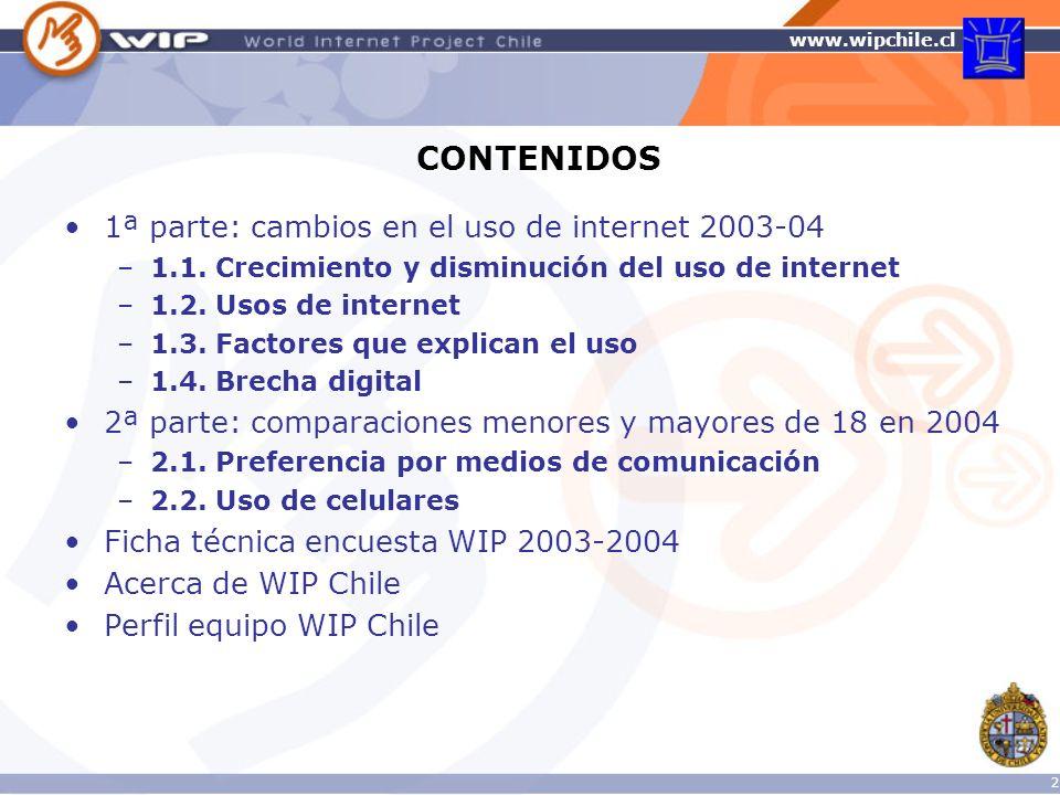 CONTENIDOS 1ª parte: cambios en el uso de internet 2003-04