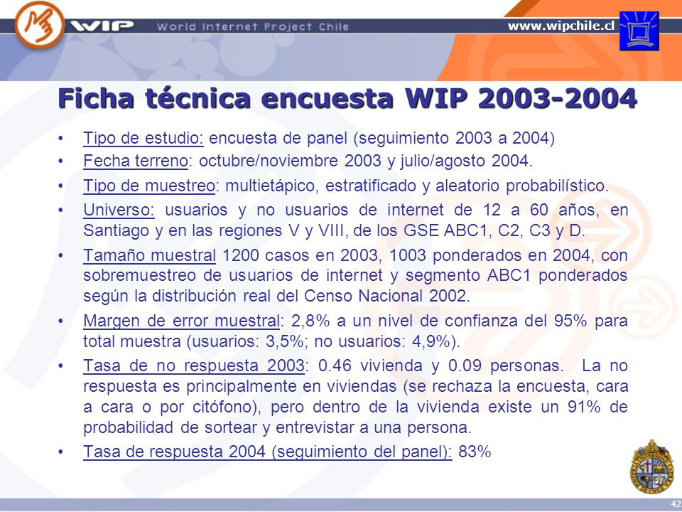 Ficha técnica encuesta WIP 2003-2004