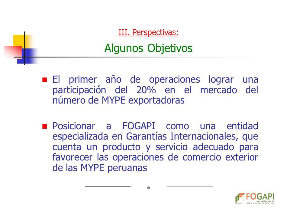 III. Perspectivas: Algunos Objetivos. El primer año de operaciones lograr una participación del 20% en el mercado del número de MYPE exportadoras.