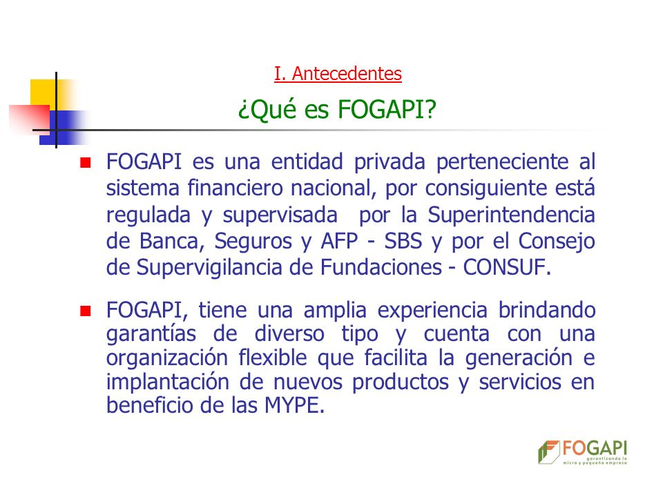 I. Antecedentes ¿Qué es FOGAPI