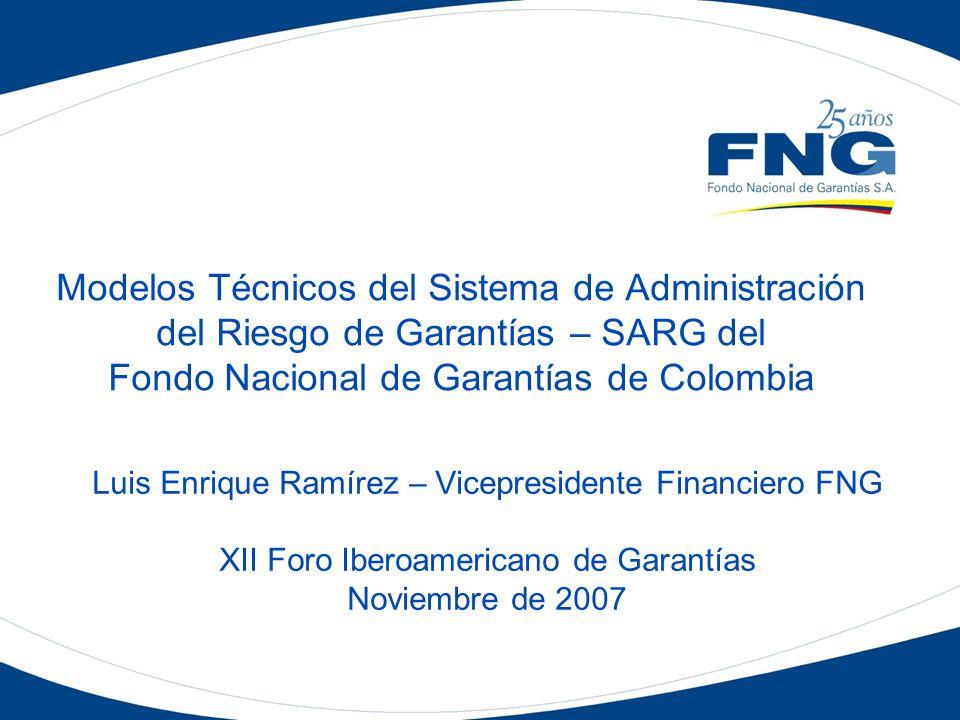 Modelos Técnicos del Sistema de Administración del Riesgo de Garantías – SARG del Fondo Nacional de Garantías de Colombia