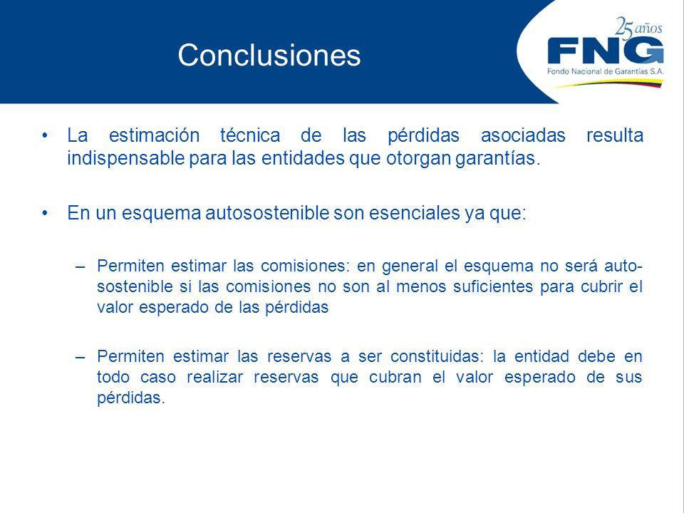 Conclusiones La estimación técnica de las pérdidas asociadas resulta indispensable para las entidades que otorgan garantías.