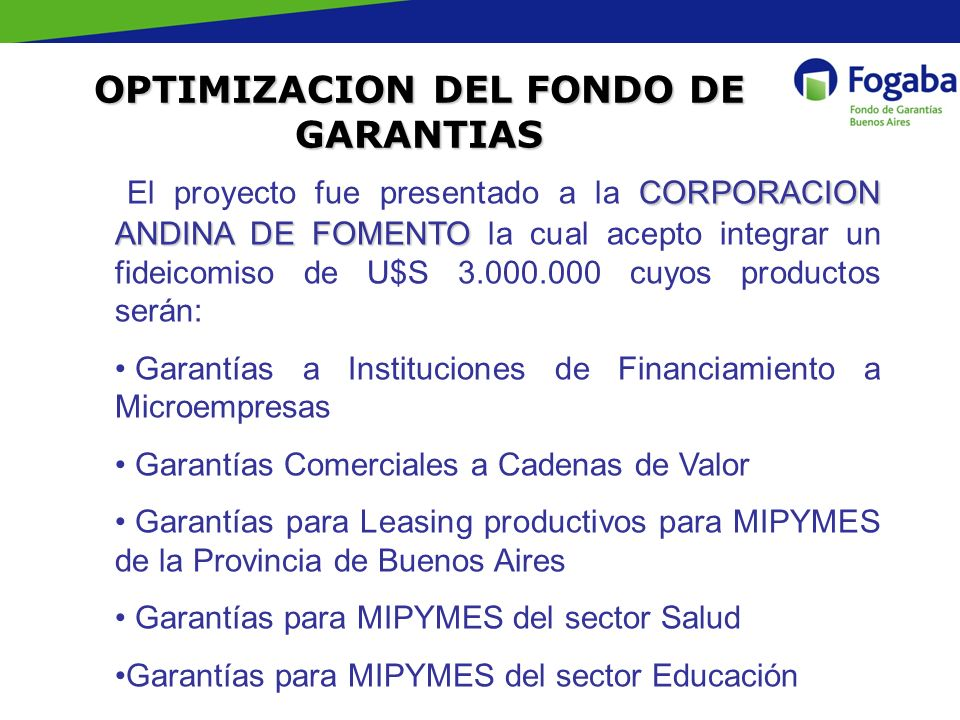 OPTIMIZACION DEL FONDO DE GARANTIAS
