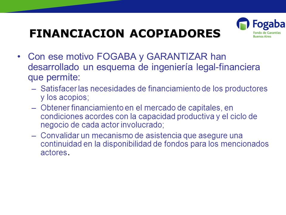 FINANCIACION ACOPIADORES