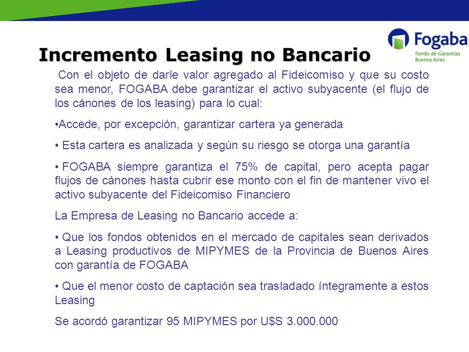 Incremento Leasing no Bancario