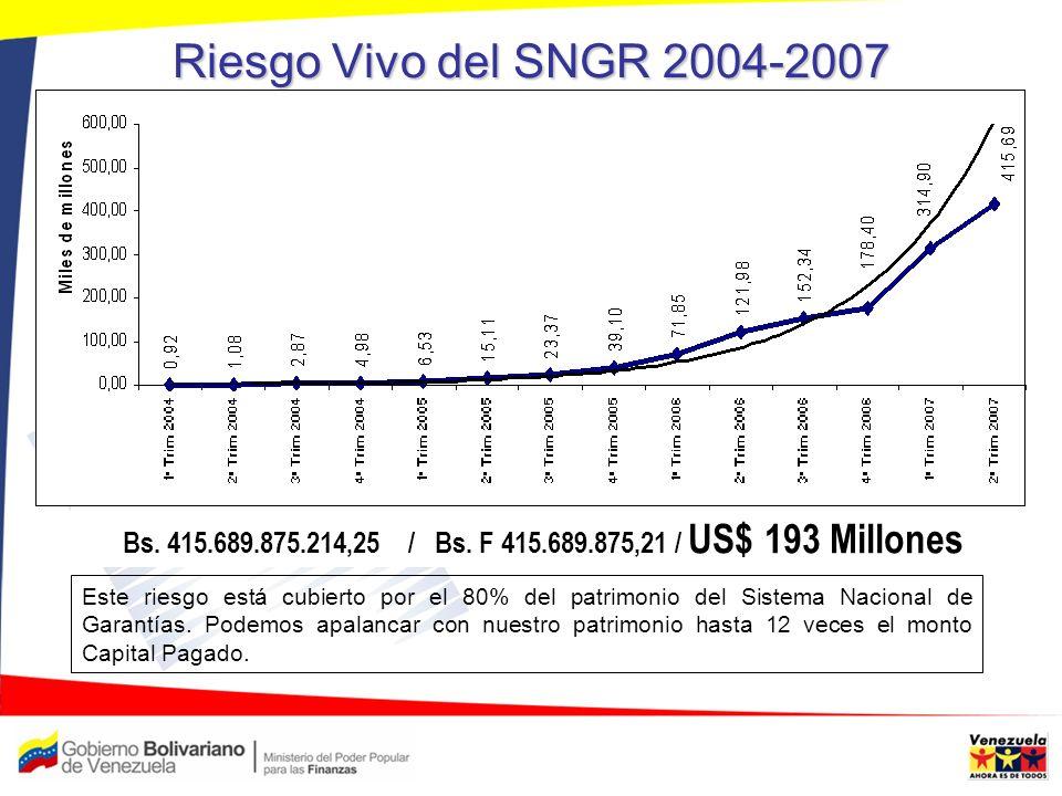 Riesgo Vivo del SNGR 2004-2007 Bs. 415.689.875.214,25 / Bs. F 415.689.875,21 / US$ 193 Millones.