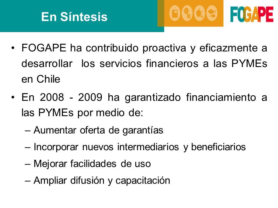 En Síntesis FOGAPE ha contribuido proactiva y eficazmente a desarrollar los servicios financieros a las PYMEs en Chile.