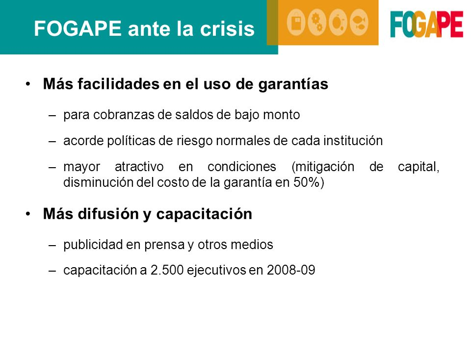 FOGAPE ante la crisis Más facilidades en el uso de garantías