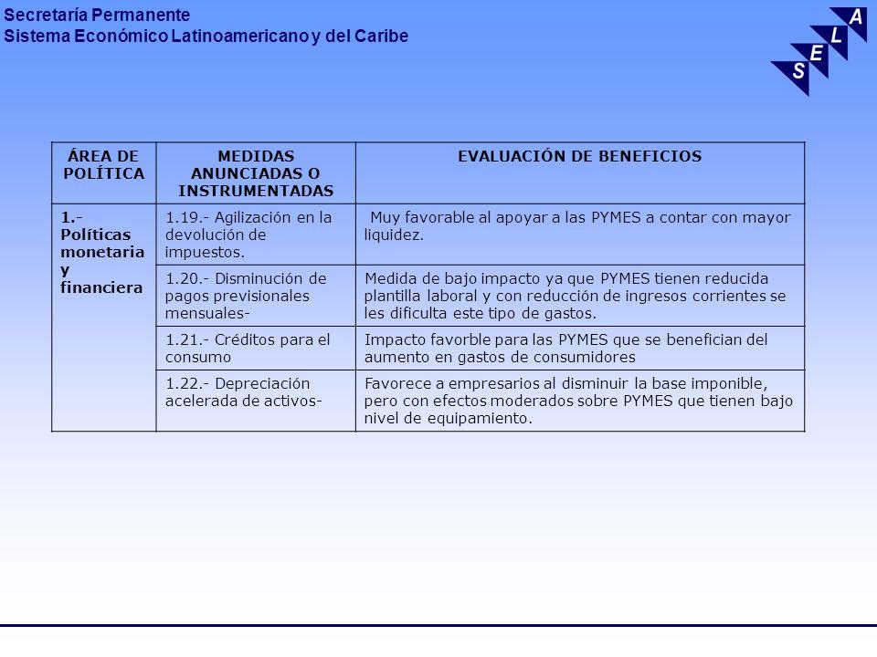 MEDIDAS ANUNCIADAS O INSTRUMENTADAS EVALUACIÓN DE BENEFICIOS