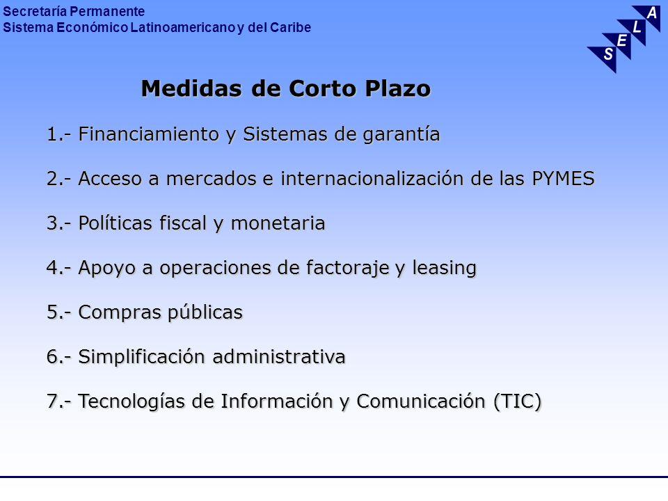 Medidas de Corto Plazo 1.- Financiamiento y Sistemas de garantía