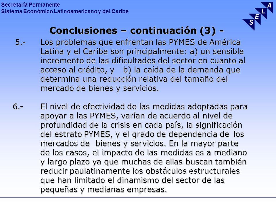 Conclusiones – continuación (3) -