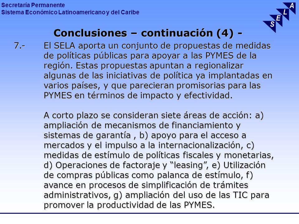 Conclusiones – continuación (4) -
