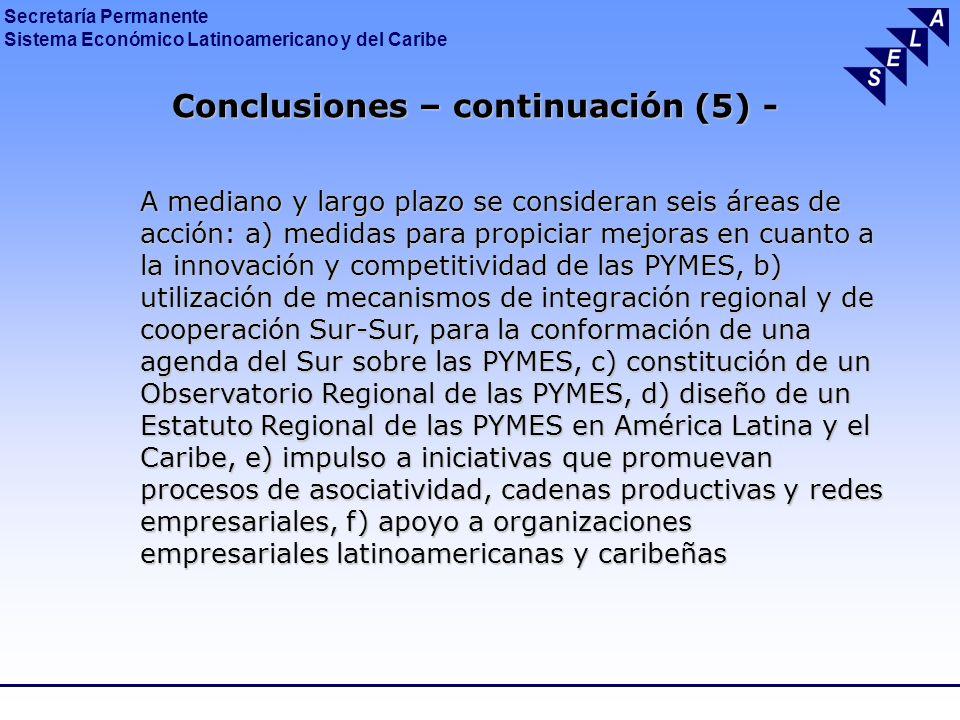 Conclusiones – continuación (5) -