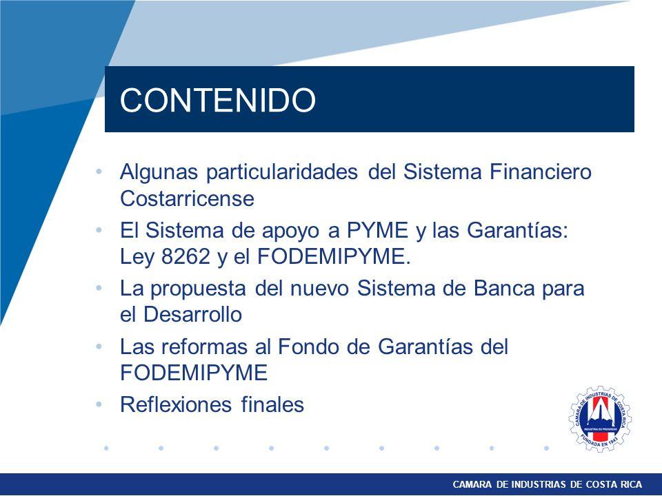 CONTENIDO Algunas particularidades del Sistema Financiero Costarricense. El Sistema de apoyo a PYME y las Garantías: Ley 8262 y el FODEMIPYME.