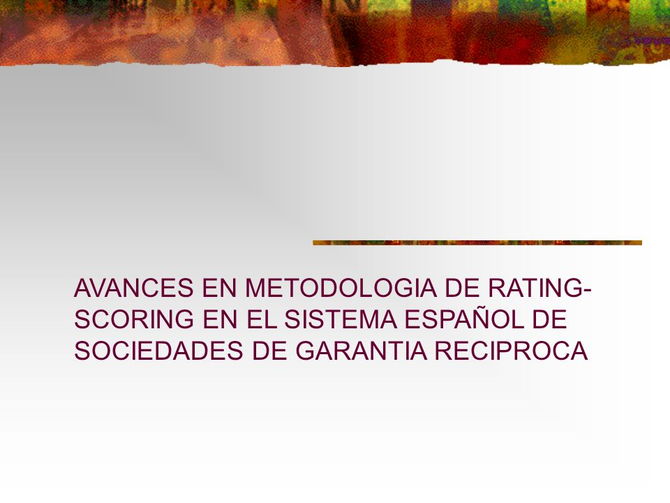 AVANCES EN METODOLOGIA DE RATING-SCORING EN EL SISTEMA ESPAÑOL DE SOCIEDADES DE GARANTIA RECIPROCA