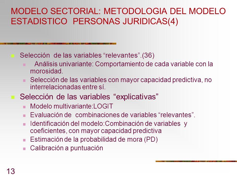 MODELO SECTORIAL: METODOLOGIA DEL MODELO ESTADISTICO PERSONAS JURIDICAS(4)