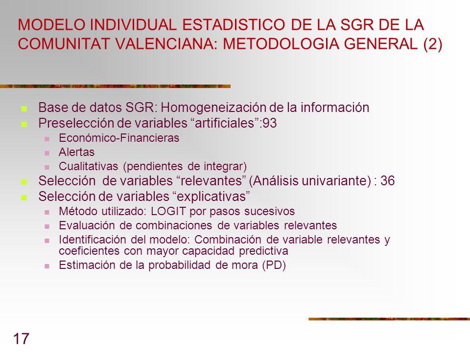 MODELO INDIVIDUAL ESTADISTICO DE LA SGR DE LA COMUNITAT VALENCIANA: METODOLOGIA GENERAL (2)