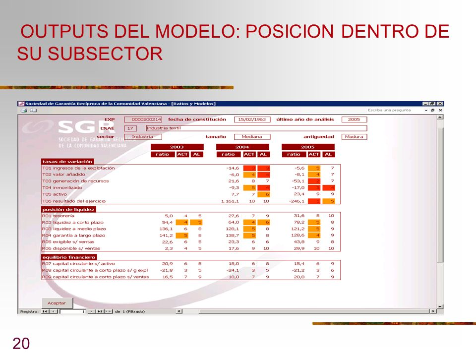 OUTPUTS DEL MODELO: POSICION DENTRO DE SU SUBSECTOR