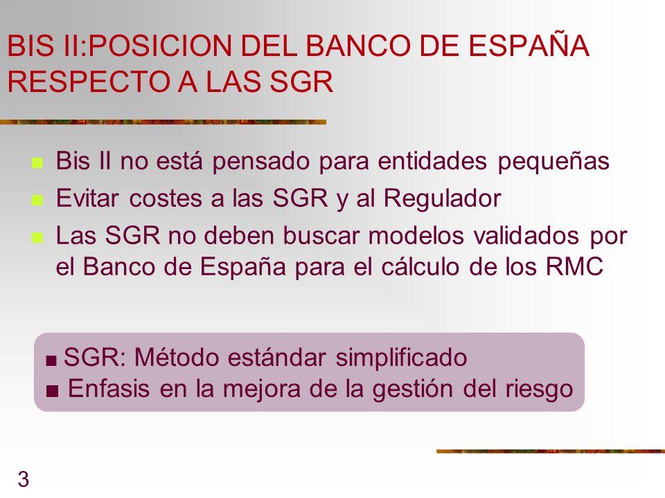BIS II:POSICION DEL BANCO DE ESPAÑA RESPECTO A LAS SGR