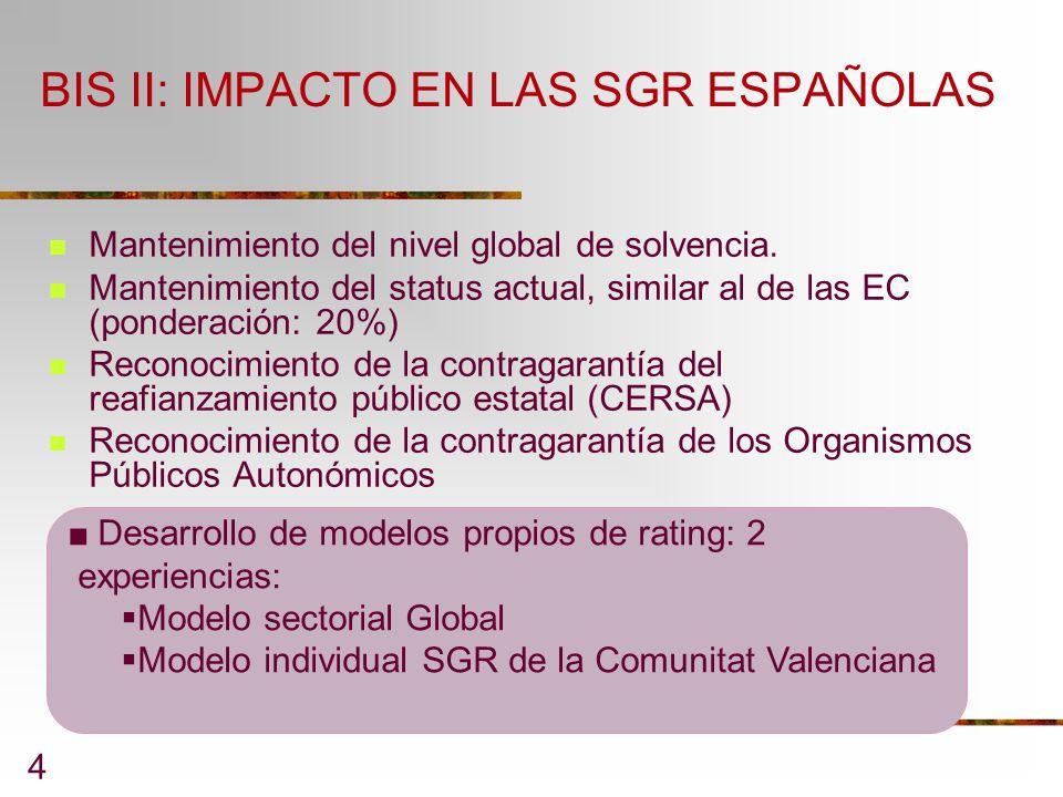 BIS II: IMPACTO EN LAS SGR ESPAÑOLAS