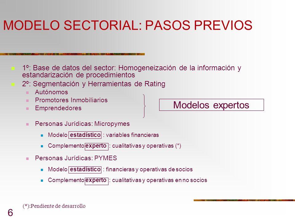 MODELO SECTORIAL: PASOS PREVIOS