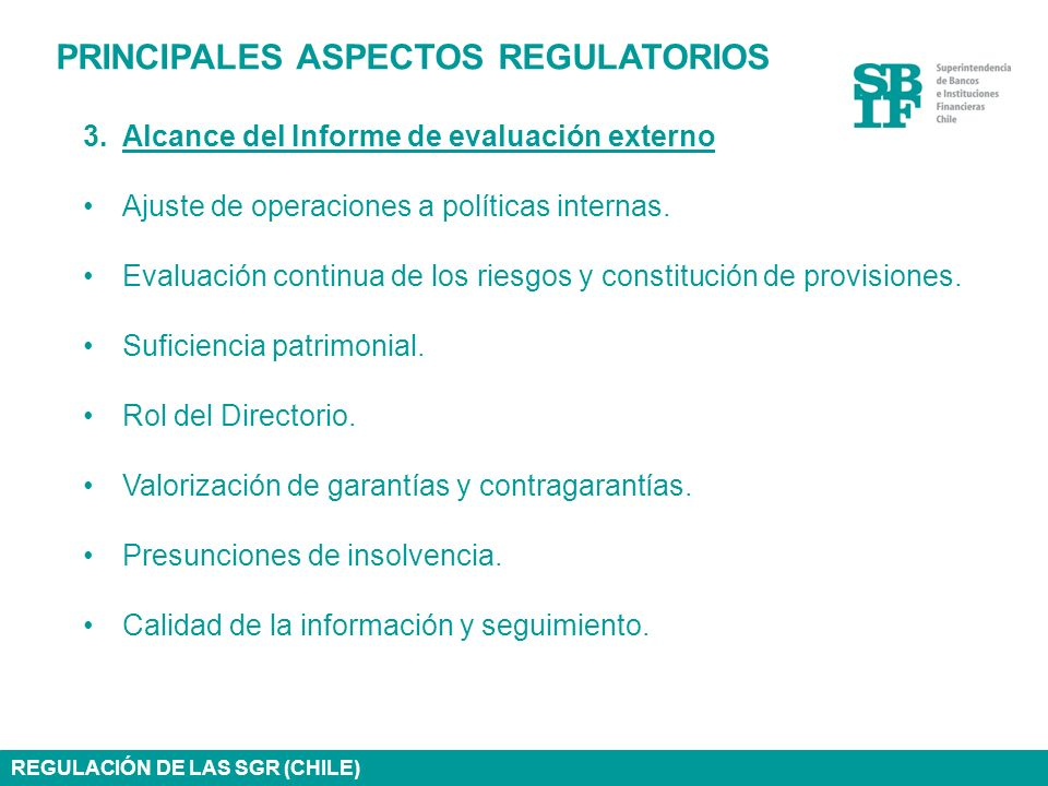 PRINCIPALES ASPECTOS REGULATORIOS