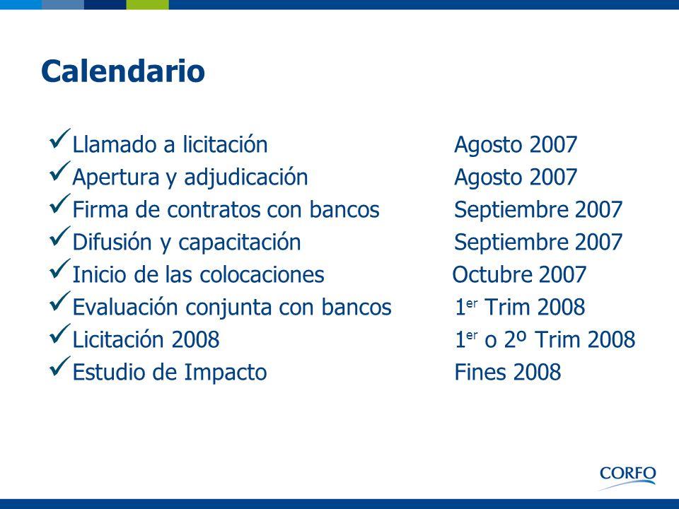 Calendario Llamado a licitación Agosto 2007