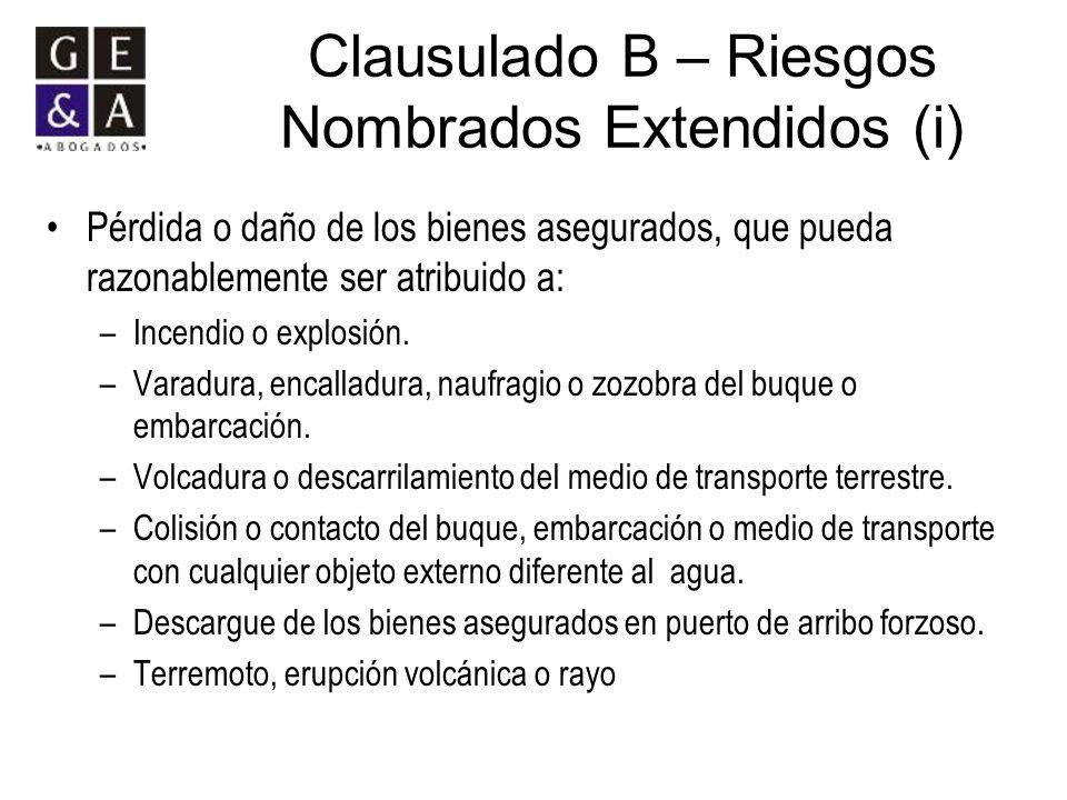 Clausulado B – Riesgos Nombrados Extendidos (i)