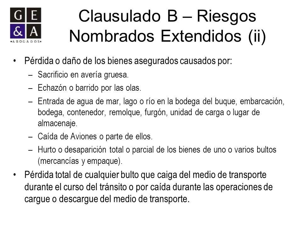 Clausulado B – Riesgos Nombrados Extendidos (ii)