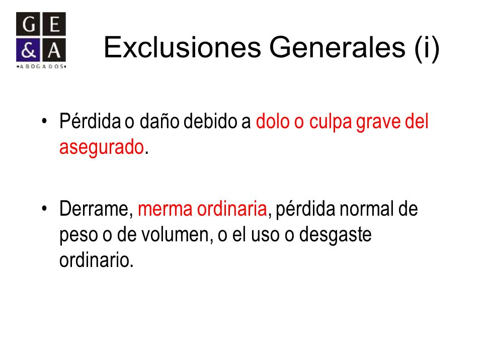 Exclusiones Generales (i)