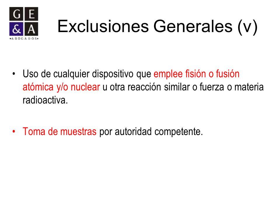 Exclusiones Generales (v)