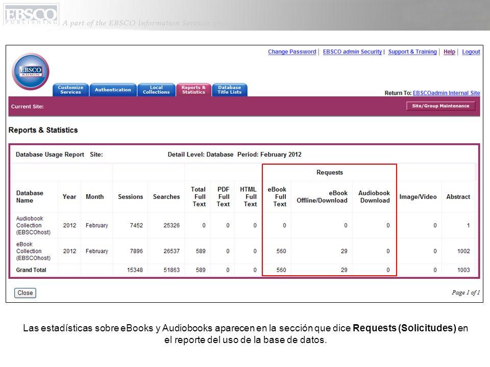 Las estadísticas sobre eBooks y Audiobooks aparecen en la sección que dice Requests (Solicitudes) en el reporte del uso de la base de datos.