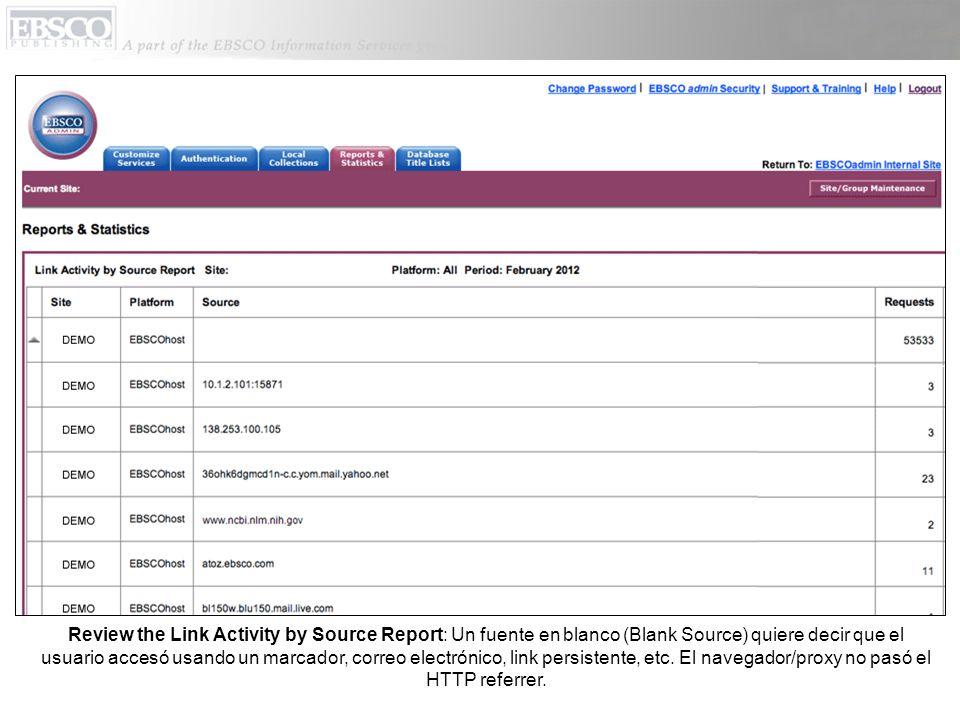 Review the Link Activity by Source Report: Un fuente en blanco (Blank Source) quiere decir que el usuario accesó usando un marcador, correo electrónico, link persistente, etc.