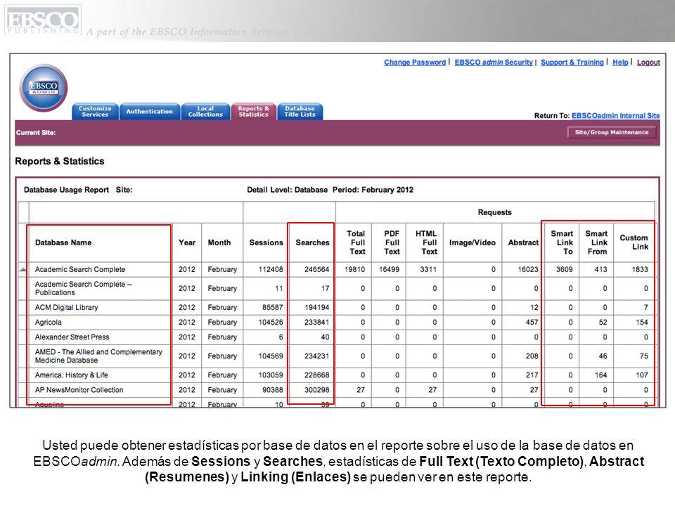 Usted puede obtener estadísticas por base de datos en el reporte sobre el uso de la base de datos en EBSCOadmin.