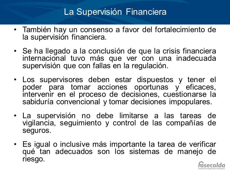 La Supervisión Financiera