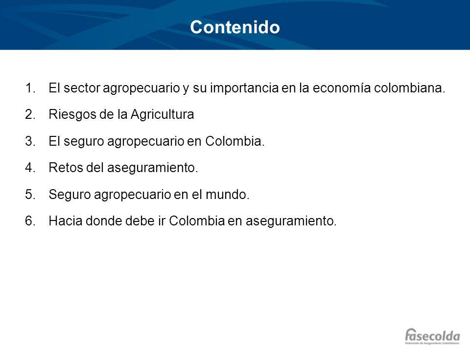 Contenido El sector agropecuario y su importancia en la economía colombiana. Riesgos de la Agricultura.
