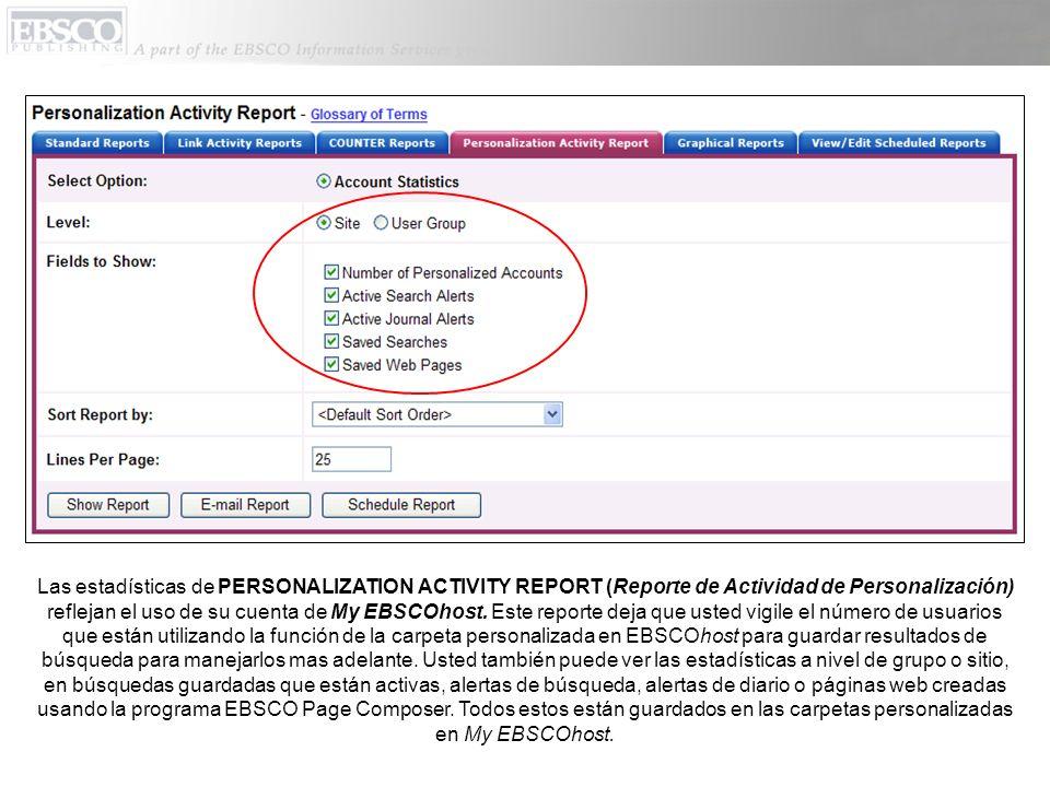 Las estadísticas de PERSONALIZATION ACTIVITY REPORT (Reporte de Actividad de Personalización) reflejan el uso de su cuenta de My EBSCOhost.