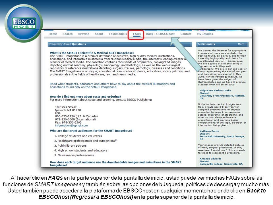 Al hacer clic en FAQs en la parte superior de la pantalla de inicio, usted puede ver muchas FAQs sobre las funciones de SMART Imagebase y también sobre las opciones de búsqueda, políticas de descarga y mucho más.